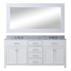 60 in. W x 21 in. D Vanity in White with Marble Vanity Top in Carrara White, Mirror and Chrome Faucets Double Sink Bathroom, Bathroom Sink Vanity, Remodel Bathroom, Bathroom Mirrors, Master Bathrooms, Bathroom Cabinets, White Bathroom, Modern Bathroom, Minimal Bathroom