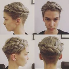 Beautiful undercut with wrap-around milkmaid braids! This is like, my dream hair at this moment in time!