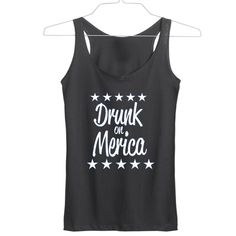 Drunk on Merica independence day tanktop gift tanktop shirt unisex custom clothing Size S-3XL