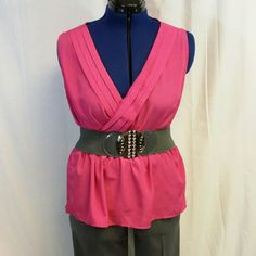 """40% BUNDLE DISCOUNT! FREE SHIPPING ON BUNDLES! Pleated Deep V-neck, Peplum, Dressy Top, size XXL, 3 pleats from shoulder seams to deep v-neck center, side bust darts, elastic waist creates Peplum bottom, machine washable, 100% polyester, 26"""" length shoulder to hem, approximately 21"""" bust laying flat but deep v-neck makes bust area adjustable, 18 1/2"""" waist laying flat but elastic waist comfortably stretches to 22"""". TOP ONLY in this listing. 40% BUNDLE DISCOUNT! FREE SHIPPING ON BUNDLES…"""