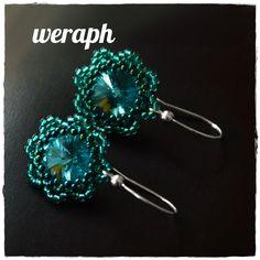 Green rivoli and peyote earrings pattern