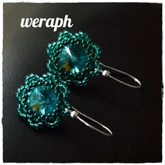 Csillagos, virágos fülik - Green rivoli and peyote earrings pattern