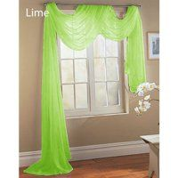 Gorgeous Home 1 Pc Solid Lime Green Scarf Valance Soft Sheer Voile