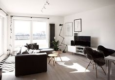 Beautiful living room of the scandinavian style apartment in Warsaw