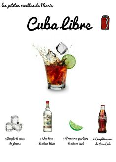 Cuba Libre: the simple and chic cocktail. Cuba Libre: the simple cocktail . Rum Cocktails, Wine Drinks, Cocktail Drinks, Alcoholic Drinks, Beverages, Cuba Libre Drink, Cuba Libre Cocktail, Mojito, Brandy Alexander