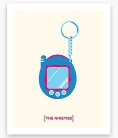 Nineties Minimalist Series Tamagotchi Poster 11 x 14 by Helvebula, $15.50