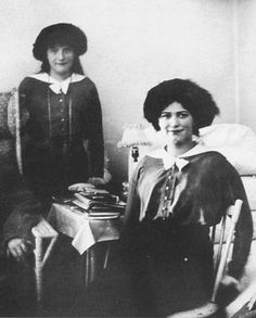 Grand Duchesses Anastasia and Maria ('the Little Pair') in a military hospital, c.1914-15.
