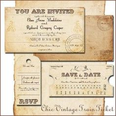 Printable VINTAGE WEDDING INVITATIONS Template - Train... review | buy, shop with friends, sale | Kaboodle: