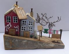 Small driftwood house scene... handpainted and crafted by me from locally sourced materials collected on our beach locally..
