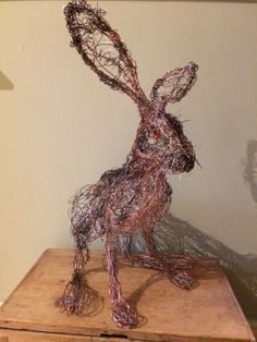 Hare freehand wire Sculpture by Paul green