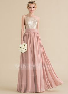 JJsHouse A-Line Princess One-Shoulder Floor-Length Chiffon Sequined Bridesmaid Dress - Dusty Rose Rose Gold Bridesmaid, Wedding Bridesmaid Dresses, Wedding Party Dresses, Red Wedding, Summer Wedding, Bridesmaids, Dusty Rose Dress, Evening Dresses, Prom Dresses