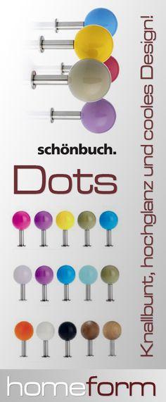 Die Dots Garderoben von schönbuch. Bunt, hochglänzend, cool und stylisch. Dots passen immer und überall und bringen den richtigen Pep für modernes Wohnen mit.  http://www.homeform.de/shop/schoenbuch/20485/Dots-Garderobenhaken.html