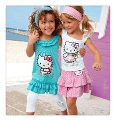 839281abd Girls Hello Kitty Skirt Suits Kids Headband+Dress+Pants 2-8 Years HelloKitty
