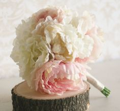 Silk Bride Bouquet Peony Flowers Peonies Shabby by braggingbags $80.