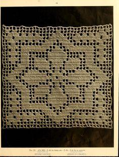An star in filet crochet. A Book of Bed-Spreads by Mrs. Helen (Strawn) - Her Crochet Débardeurs Au Crochet, Filet Crochet Charts, Fillet Crochet, Crochet Blocks, Crochet Flower Patterns, Crochet Squares, Crochet Home, Thread Crochet, Crochet Doilies