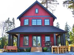 Puget Sound Residence - Farmhouse - Exterior - seattle - by Sears Architects House Siding, House Paint Exterior, Exterior House Colors, Exterior Design, Black Exterior, Red Farmhouse, Modern Farmhouse Exterior, Red Houses, Red Cottage