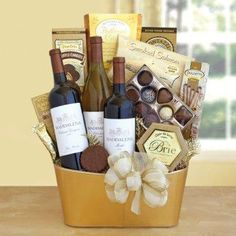 Chocolate and wine gift basket. I like this combination.