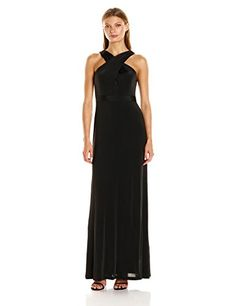 Adrianna Papell Women's Crossover Halter Jersey Gown - http://www.darrenblogs.com/2016/10/adrianna-papell-womens-crossover-halter-jersey-gown/