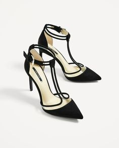 Zara Vinyl Black Court Shoe