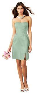 Sage Green Strapless Bridesmaid Dress. Designer: Alfred Angelo 7269S