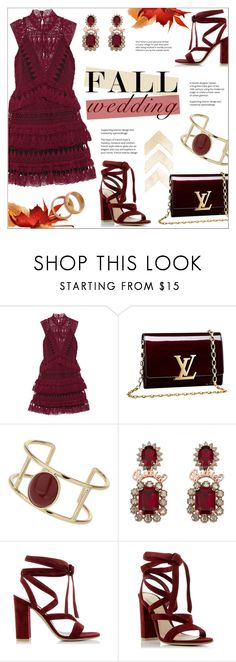 """""""Fall Wedding"""" by alexandrazeres ❤ liked on Polyvore featuring self-portrait, Louis Vuitton, Miss Selfridge, Gianvito Rossi and fallwedding"""