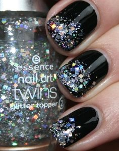 Black nails with glitter tips!
