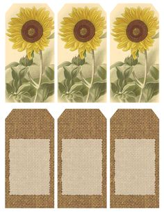 """Those Who Bring Sunshine..."" ~ Printable sheet of 6 sunflower and burlap tags"