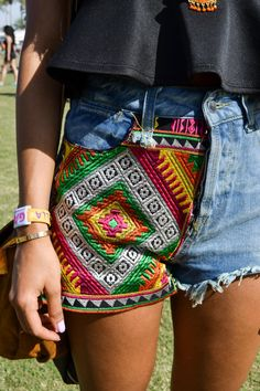 love embellishing shorts. would probably go with something darker but like the idea.