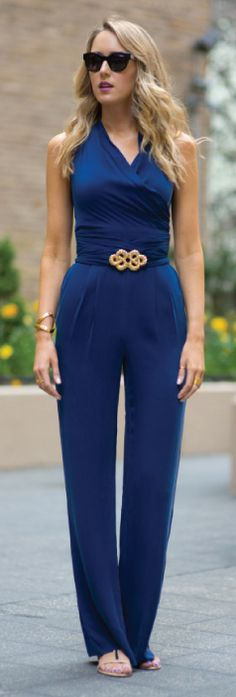 French Blue, Wrap Top Jumpsuit.