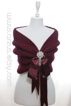 Wedding Shawl Bridal Shawl Bridal Wedding Stole Burgundy by Arzus Bridal Shawl, Wedding Shawl, Knitted Shawls, Crochet Shawl, Crochet Capas, Opal Color, Capelet, Shawls And Wraps, Knit Patterns