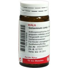 GELSEMIUM COMP.Globuli:   Packungsinhalt: 20 g Globuli PZN: 08785928 Hersteller: WALA Heilmittel GmbH Preis: 5,99 EUR inkl. 19 % MwSt.…