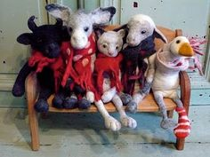 Felted.  Wooly hairy horned lamb sheep w horns. Accessories scarf burlap jumper.