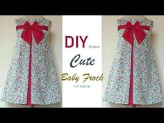 DIY Designer Cute Baby Frock Cutting And Stitching Full Tutorial Baby Frock Pattern, Frock Patterns, Baby Dress Patterns, Cotton Frocks For Kids, Kids Frocks, Frocks For Girls, Baby Dresses, Little Girl Dresses, Girls Dresses