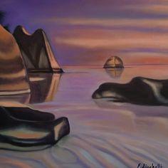 """New: Dipinto originale, paesaggio con mare al tramonto, spiaggia delle isole Seychelles. Titolo: """"Seychelles"""" Olio su tela misure: 50 x 50 cm. / 19,69 x 19,69 Inch. anno: 2016 Regalo originale, lista nozze o ricorrenza speciale."""