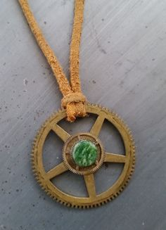 "Steampunk Necklace,Turquoise stone with Authentic Watch and Clock Gears,Suede Leather,OOAK,""The First Wheel"" - pinned by pin4etsy.com"