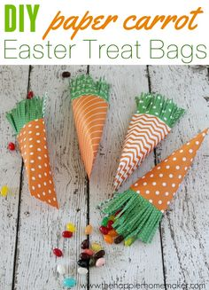 Easy to make DIY Paper Carrot Easter Treat Bags