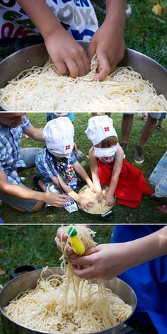 Noodle Fishing Game - Cooking Birthday Party For 3 Year Olds - Party Food, Party Games & Lots of ideas!  You can dye the pasta and figure out a story behind in... Maybe have teams--- two teams, have to do activities and get points