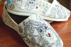 Custom Owl TOMS, w doodles, your size, your colors, shoes included. via Etsy.