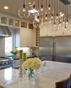 Kitchen Lighting: 19 Home Lighting Ideas Kitchen Redo, Kitchen Remodel, Kitchen Island Decor, Kitchen Island Lighting, Kitchen Ideas, Island Lighting Fixtures, Chandelier Kitchen Island, Modern Kitchen Decor, Modern Decor