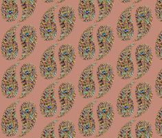 rainbow_paisley_textured_peach fabric by stradling_designs on Spoonflower - custom fabric