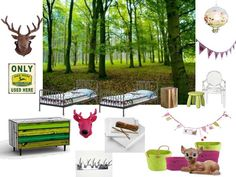 woodland theme bedroom for young boy and girl sharing bedroom