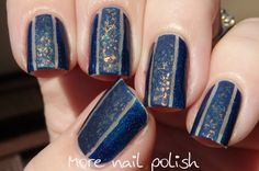 Blue negative space with flakies: OPI DS Fantasy + striping tape followed by Dance Legend Cany Flakes Sun Still Sleeps (More Nail Polish)