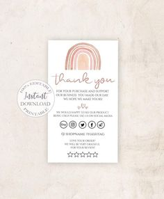 Small Business Cards, Business Thank You Cards, Printable Business Cards, Business Card Design, Thank You Card Design, Thank You Card Template, Card Templates, Watercolor Business Cards, Web Design
