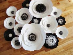 Set of 15 Large Paper Flowers Black and by DreamEventsinPaper