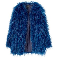 Pコート ❤ liked on Polyvore featuring outerwear, coats, jackets, coats & jackets, fur, blue fur coat, blue coat and fur coat