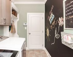 chalkboard paint on bottom half of wall running from the desk area to the laundry , white boards and command Centre on top Small Laundry Closet, Compact Laundry, Pink Laundry Rooms, Laundry Room Bathroom, Chalkboard Wall Bedroom, Bedroom Wall, Chalkboard Paint, Pet Washing Station, Diy Waterfall