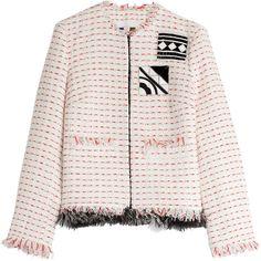 MSGM Embellished Bouclé Jacket (45.500 RUB) ❤ liked on Polyvore featuring outerwear, jackets, msgm, multicolored, slim jacket, tailored jacket, white boucle jacket and boucle jacket