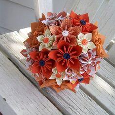 Custom Paper Wedding Flower Bouquet and Boutonniere - Misssail - Origami Origami Flower Bouquet, Paper Bouquet, Flower Bouquet Wedding, Flower Bouquets, Folded Paper Flowers, Paper Flowers Wedding, Wedding Paper, Cute Origami, Origami Paper