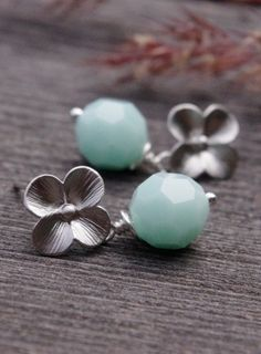 Mint Swarovski Earrings Four Petals Flower Post