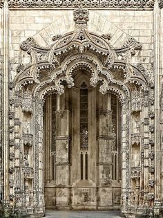 Portal of the Monastery of Batalha, Batalha, Leiria, Portugal.  It is one of the best and original examples of Late Gothic architecture in Portugal, intermingled with the Manueline style.  by Daniel Schwabe #gothicarchitecture